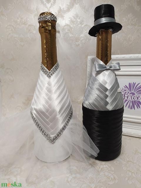 Menyasszony-vőlegény ruha pezsgőre, világos szürke (gervera) - Meska.hu