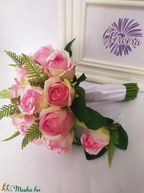 Rózsaszín rózsa menyasszonyi csokor (gervera) - Meska.hu