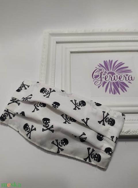 Textil maszk, kétrétegű, fehér-halálfejes (gervera) - Meska.hu