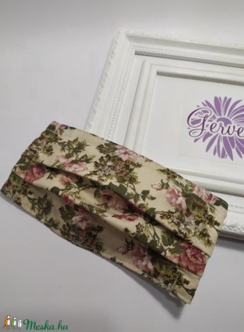 Textil maszk, kétrétegű, vintage, rózsás (gervera) - Meska.hu