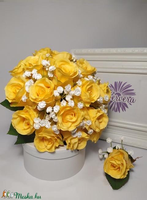 Menyasszonyi csokor sárga rózsa (gervera) - Meska.hu