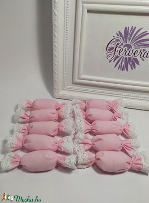 Szaloncukor, textil, rózsaszín, pöttyös (gervera) - Meska.hu