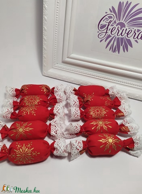 Szaloncukor, textil, piros, hópehely (gervera) - Meska.hu
