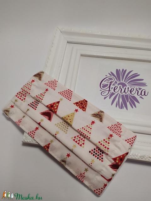 Textil maszk,kétrétegű karacsonyfás (gervera) - Meska.hu
