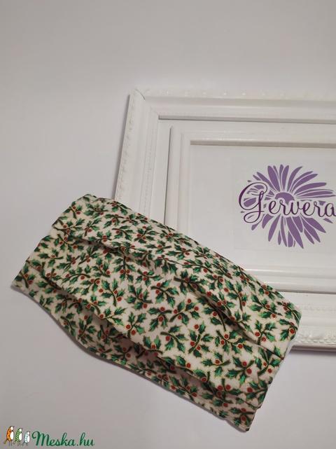 Textilmaszk, kétrétegű, zöld-magyal (gervera) - Meska.hu