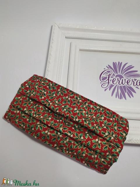 Textilmaszk,kétrétegű, piros-magyal (gervera) - Meska.hu
