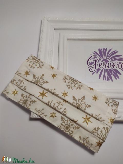 Textil maszk,kétrétegű, arany-hópehely (gervera) - Meska.hu