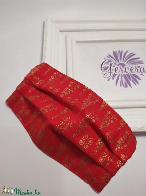 Textil maszk,kétrétegű, piros-arany-jégcsap (gervera) - Meska.hu