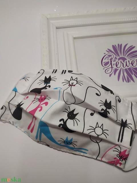 Textil maszk, kétrétegű cicás-színes (gervera) - Meska.hu