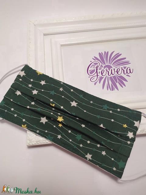 Textil maszk,kétrétegű zöld-csillagos (gervera) - Meska.hu