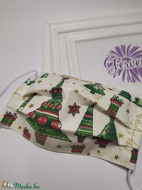 Textil maszk, kétrétegű zöld-arany kárácsonyfás (gervera) - Meska.hu
