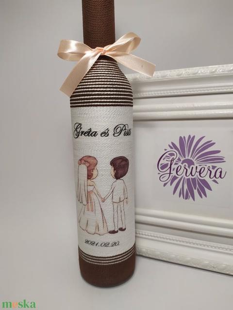 Szülőköszöntő üveg esküvőre, barna - Meska.hu