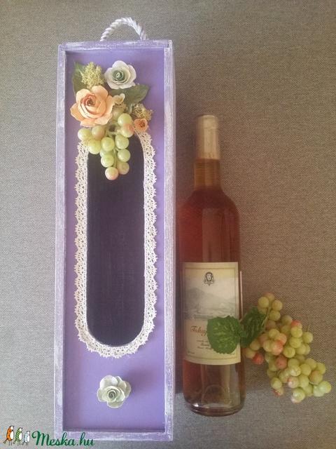 Különleges  bortartó ,  agyagvirágokkal díszítve ! - Meska.hu