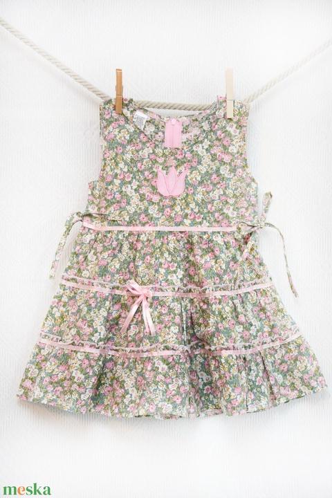 Zöld-rózsaszín 110-152  apróvirágos nyári ruha (gyetomi) - Meska.hu