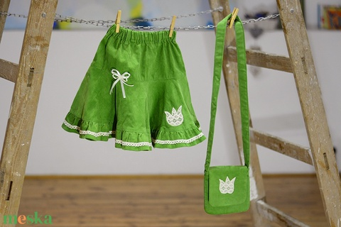 PÖRG�S kord szoknya, zöld, 110-164-es, lány, pamut  csipke díszítéssel  (gyetomi) - Meska.hu