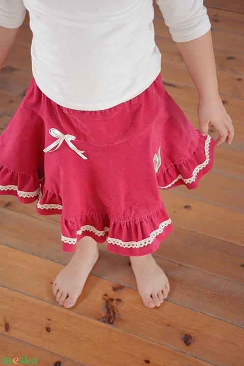 PÖRG�S kord szoknya, 110-164-es, sötét rózsaszín, lány, pamut  csipke díszítéssel  (gyetomi) - Meska.hu