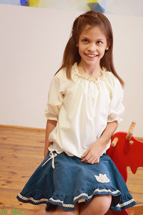 PÖRG�S kord szoknya, kék, 74-104-es, lány, pamut  csipke díszítéssel  (gyetomi) - Meska.hu
