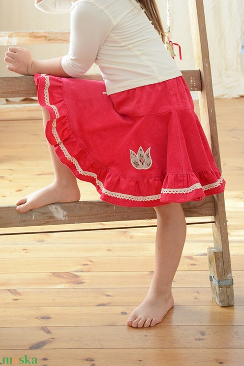 PÖRG�S kord szoknya, 110-164-es, közép rózsaszín, lány, pamut csipke díszítéssel  (gyetomi) - Meska.hu