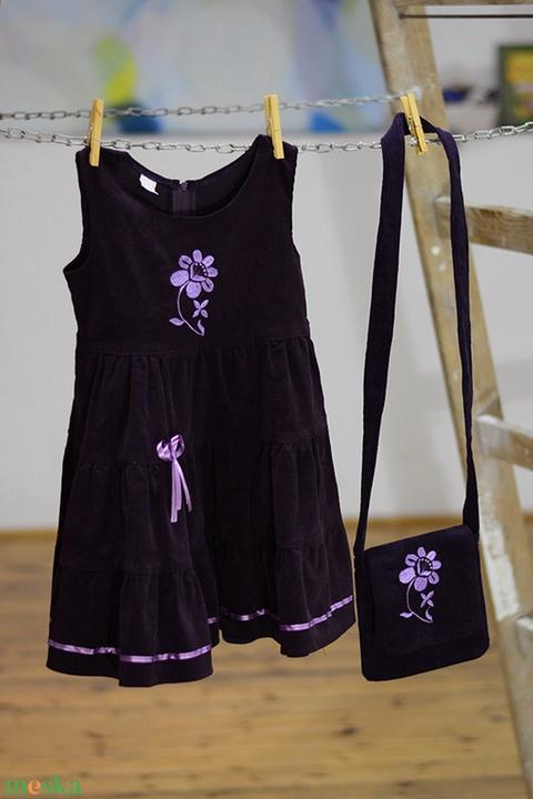 Kord ruha 110-152-es, lila,  lila hímzéssel (gyetomi) - Meska.hu