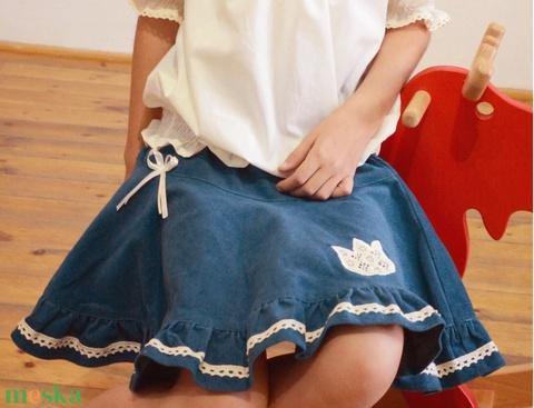 PÖRG�S kord szoknya, kék, 110-164-es, lány, pamut  csipke díszítéssel  (gyetomi) - Meska.hu