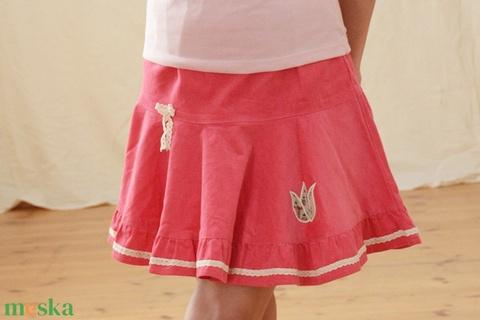 PÖRG�S kord szoknya, 110-164-es, világos rózsaszín, lány, pamut  csipke díszítéssel  (gyetomi) - Meska.hu