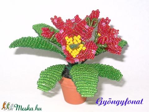 Primula gyöngyből cserepes virág  (gyongyfonat) - Meska.hu