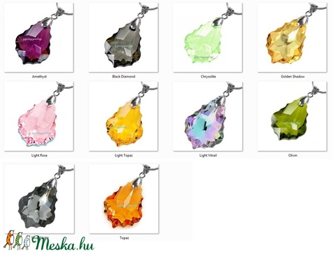 Swarovski kristály medál -16mm-es barokk  több színben  - Meska.hu