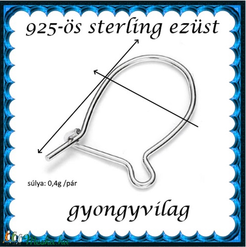 925-ös sterling ezüst ékszerkellék: fülbevalóalap biztonsági kapoccsal EFK K 17 - Meska.hu