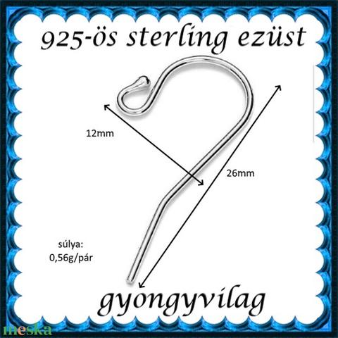 925-ös sterling ezüst ékszerkellék: fülbevalóalap akasztós EFK A 01-2 - Meska.hu