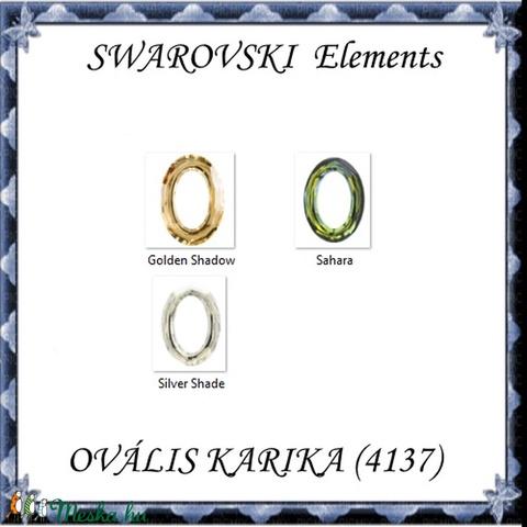 Ékszerkellék: Swarovski ovális karika  15mm-es több színben  - Meska.hu