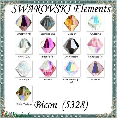 Ékszerkellék: Swarovski bicon 3mm-es AB bevonatos több színben SW5328-3 24db/csomag - Meska.hu