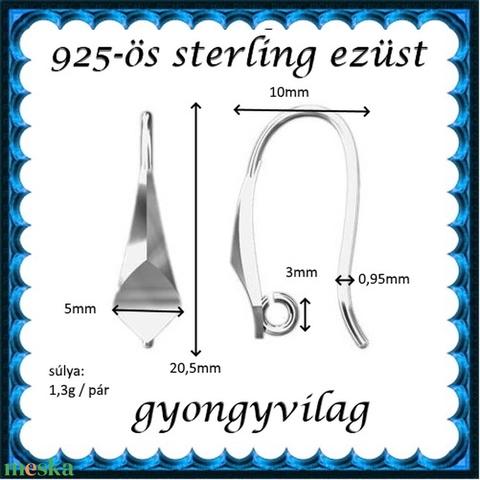 925-ös sterling ezüst ékszerkellék: fülbevalóalap akasztós EFK A 78 - Meska.hu