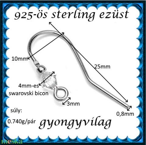 925-ös finomságú sterling ezüst fülbevaló kapocs EFK A 88 - Meska.hu
