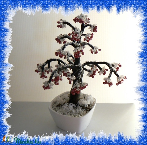 Gyöngyből készített téli fa  GYV18-1 - Meska.hu