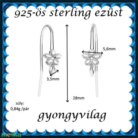 925-ös sterling ezüst ékszerkellék: fülbevalóalap akasztós EFK A 90 - Meska.hu