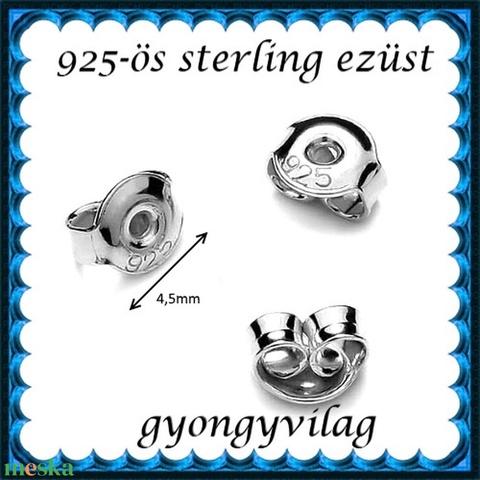 925-ös sterling ezüst ékszerkellék: fülbevalóalap bedugós EFK B 27-4,5e vég  2 pár / 4db - Meska.hu