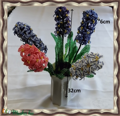 1 szál gyöngyből készített jácint több színben GYV24-02 - Meska.hu