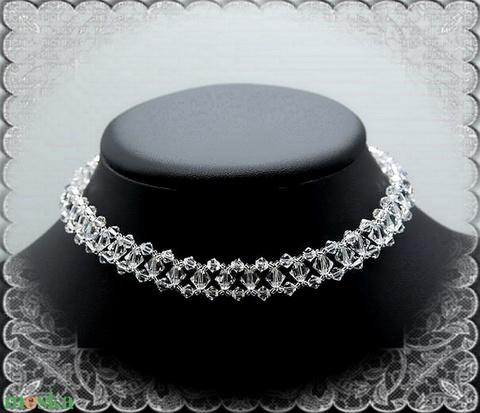 Esküvői, menyasszonyi choker lánc, swarovszki kristály SL-ESW04-1 - Meska.hu