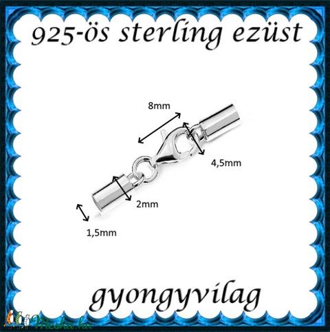 925-ös sterling ezüst ékszerkellék: láncvég + kapocs ELK K+V 04-1,5 1,5mm-es - Meska.hu