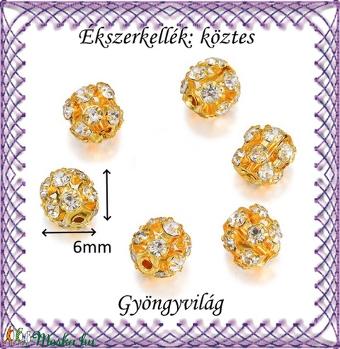 Ékszerkellék: köztes / díszítőelem / gyöngy BKÖ 1S 36-6a crystal  5db/csomag - Meska.hu