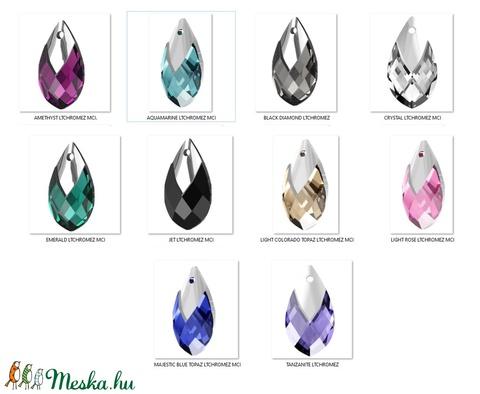 Ékszerkellék: Swarovski kristály csepp 22mm-es medál több színben SW6565-22 - gyöngy, ékszerkellék - swarovski kristályok - Meska.hu