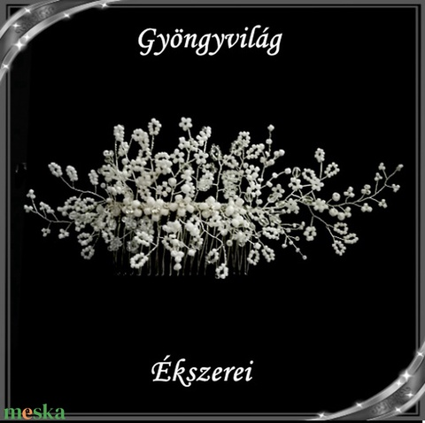 Ékszerek-hajdíszek, hajcsatok: Esküvői, menyasszonyi, alkalmi hajdísz S-H-FÉ02e - Meska.hu