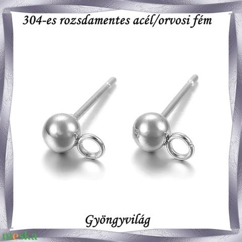 Nemes acél ékszerkellék: fülbevaló alap NAFK 05-1-4  1pár/cs - gyöngy, ékszerkellék - egyéb alkatrész - Meska.hu