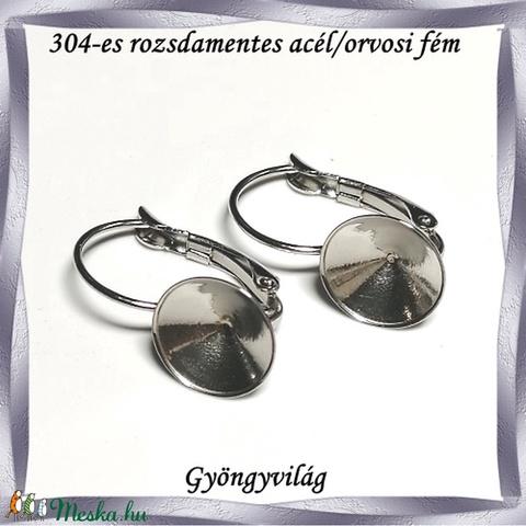 304 Nemes acél ékszerkellék: fülbevaló alap NAFK 08-10 1pár/cs - gyöngy, ékszerkellék - egyéb alkatrész - Meska.hu