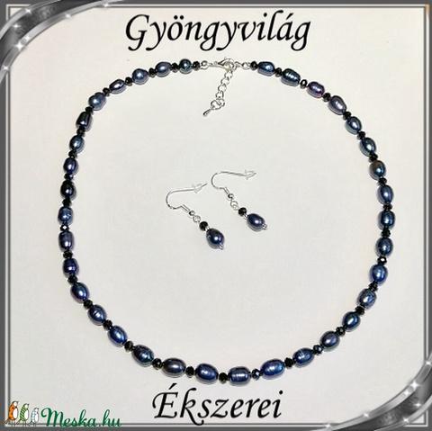 Édesvizi igazgyöngy nyaklánc-karkötő szett, ezüstözött kapoccsal SSZEB-IG06 9x7 fekete - Meska.hu