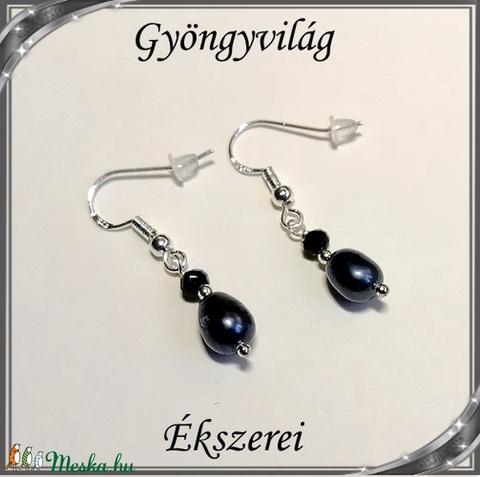 Édesvizi igazgyöngy fülbevaló, ezüstözött kapoccsal SFEB-IG06 9x7 fekete - Meska.hu