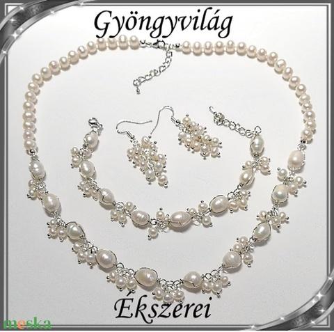 Édesvizi igazgyöngy nyaklánc-karkötő szett, ezüstözött kapoccsal SSZEB-IG08 fehér-e - Meska.hu