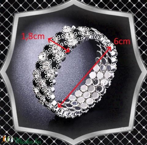 Három soros kristály karkötő ES-K03e fehér fekete - Meska.hu