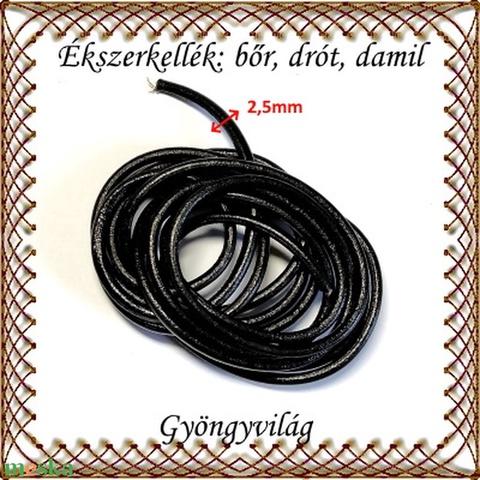 Ékszerkellék: fényezett valódi bőr szál FSZ03-2,5 fekete 2,5mm-es (gyongyvilag) - Meska.hu