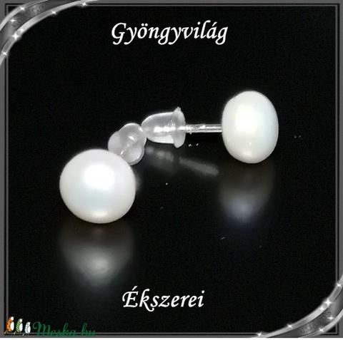 Ékszerkellék: igazgyöngy félgömb,félig fúrt GYI-FG-FF-8fehér 1pár - Meska.hu